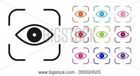 Black Eye Scan Icon Isolated On White Background. Scanning Eye. Security Check Symbol. Cyber Eye Sig