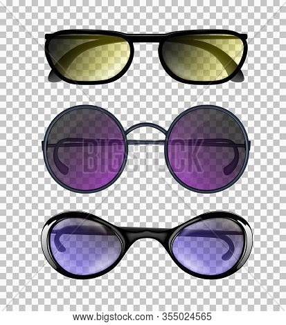 Three Fashionable Elegant Man Or Woman Realistic Glasses Isolated On The Transparent Background. Fro