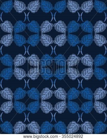 Dark Classic Blue Simple Watercolor Leaf Stripe. Vector Texture Seamless Pattern. Variegated Soft Bl