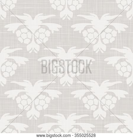 Gray French Linen Texture Background Printed With White Floral Motif. Natural Ecru Antique Medallion