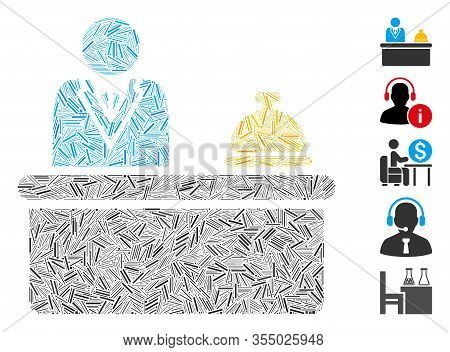Hatch Mosaic Based On Lobby Desk Icon. Mosaic Vector Lobby Desk Is Designed With Scattered Hatch Ele