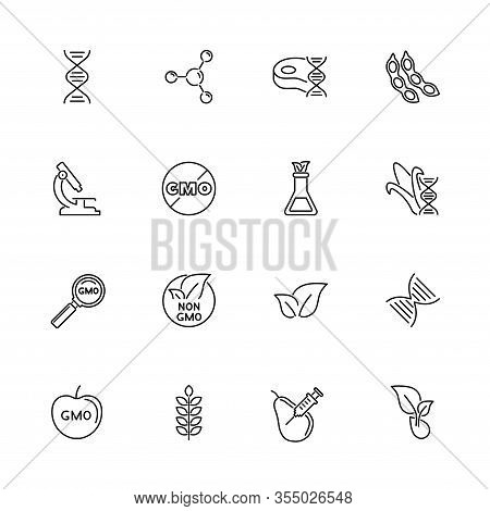 Gmo, Biotechnology, Science Outline Icons Set - Black Symbol On White Background. Gmo, Biotechnology