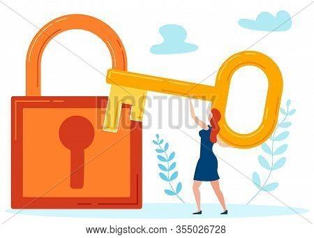 Key To Hidden Secrets Metaphor Vector Illustration. Woman, Girl Trying To Unlock Huge Padlock Cartoo