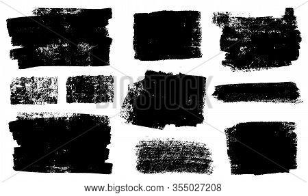 Brush Strokes Templates, Vector Grunge Paintbrush Set