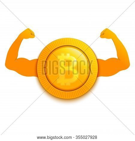 Strong Bitroin Cryptocurrency With Muscular Hands Poster