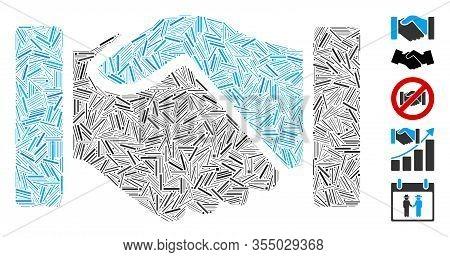 Hatch Mosaic Based On Acquisition Handshake Icon. Mosaic Vector Acquisition Handshake Is Composed Wi