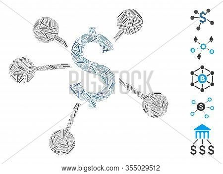 Line Mosaic Based On Financial Links Icon. Mosaic Vector Financial Links Is Designed With Scattered