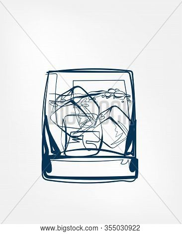 Ice Glass Whiskey Vector One Line Art Drink Isolated