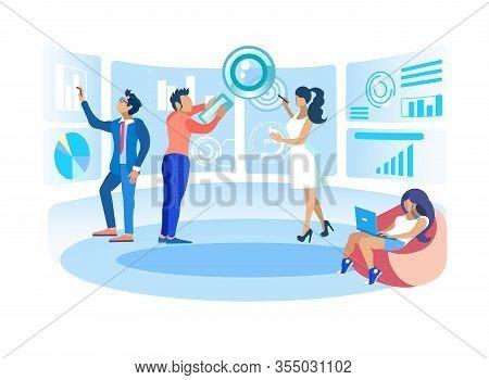 Vector Illustration Realization Certain Goals. Men And Women Office Develop Ideas. Creating Successf