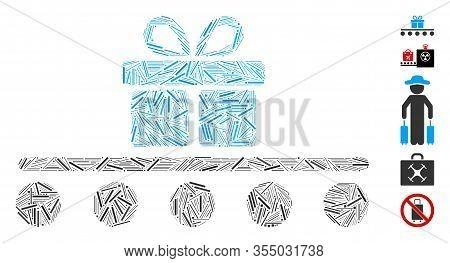 Line Mosaic Based On Baggage Transportation Icon. Mosaic Vector Baggage Transportation Is Created Wi