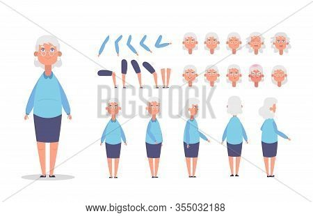 Elderly Woman Character Constructor For Animation With Various Views, Poses, Gestures, Hairstyles An