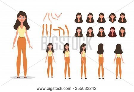 Woman Character Constructor For Animation With Various Views, Poses, Gestures, Hairstyles And Emotio