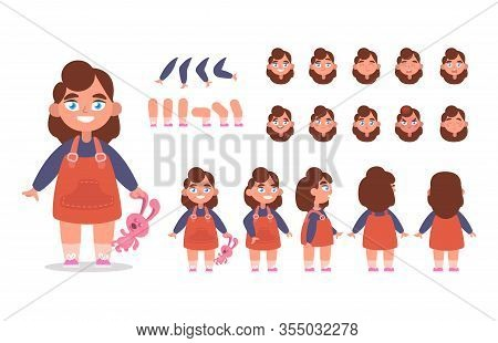 Little Girl Character Constructor For Animation With Various Views, Poses, Gestures, Hairstyles And