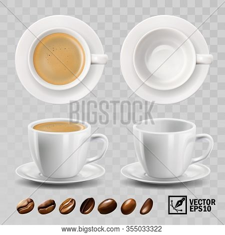 3d Realistic Vector Cup Of Cappuccino, Espresso Or Americano Coffee With Froth, Top View, Side View