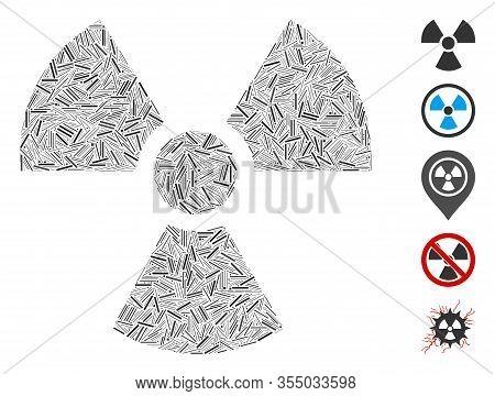 Hatch Mosaic Based On Radioactivity Icon. Mosaic Vector Radioactivity Is Designed With Randomized Ha