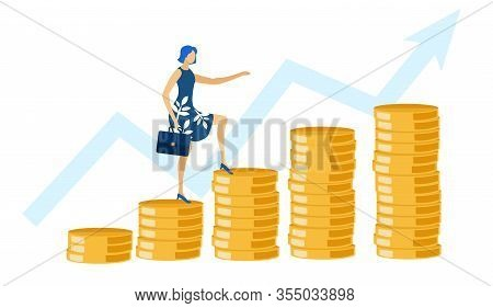 Woman With Briefcase Ascending By Coins Flat Cartoon Vector Illustration. Financial Growth Concept.