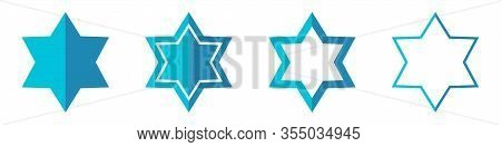 Vector Star Of David In Flat Style. Set Of Star Of David Icons Isolated. Blue Stars Icon. Religion S