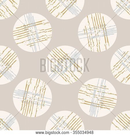 Grey French Linen Vector Polka Dot Texture Seamless Pattern. Brush Stroke Grunge Ornamental Abstract