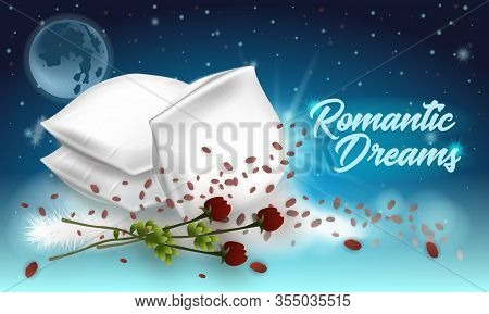 Vector Illustration Lettering Romantic Dreams. Horizontal Banner On Dark Background. Foreground Soft