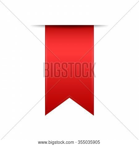 Red Ribbon On White Background. Blank Label Or Banner Isolated. Vector Bookmark Or Sticker.