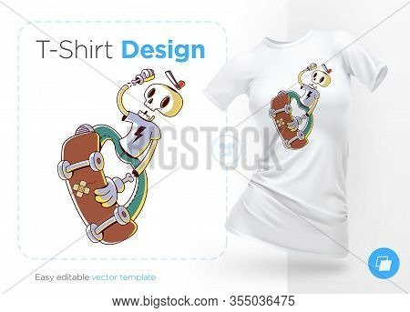 Funny Skeleton Skater. Print On T-shirts, Sweatshirts And Souvenirs