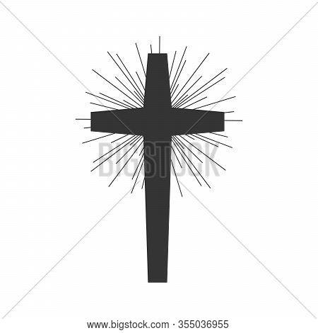 Christian Cross Vector Icon. Christian Cross On White Background. Vector Illustration. Black Religio