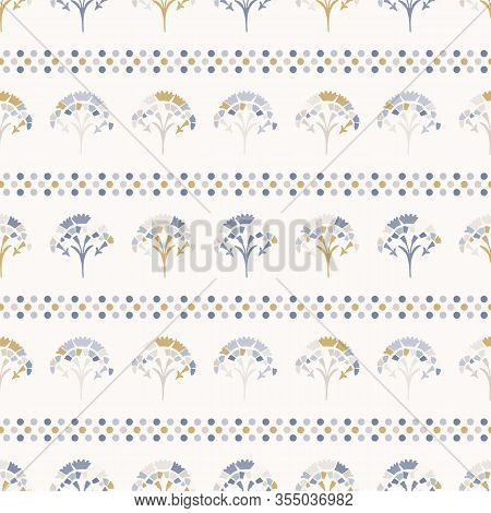 Grey French Blu Vector Floral Polka Dot Stripe Seamless Pattern. Pretty Spring Carnation Stylized Ba