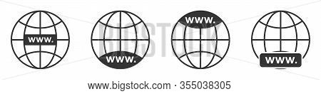 Www Icon. Globe Earth Icons Set. Website Icon. Www Icons In Flat Linear Style. Vector Illustration.