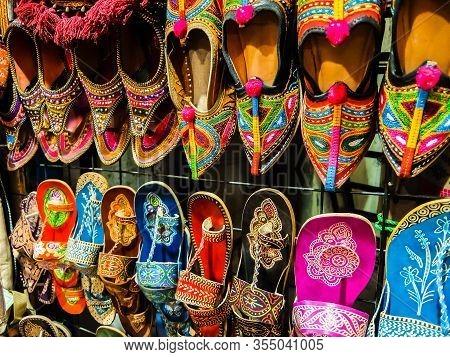 Rishikesh, India - Circa March 2018. Colorful Handmade Shoes At Street Market In Rishikesh.