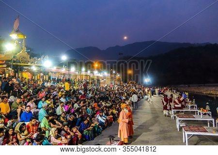 Rishikesh, India - Circa March 2018. Ganga Aarti Ceremony In Rishikesh.