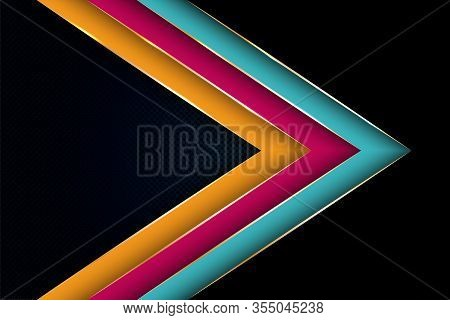 Polygonal Arrow With Gold Triangle Edge Lines Banner Vector Design. Glossy Business Background Templ