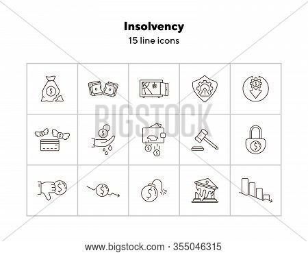 Insolvency Line Icon Set. Recession, Decrease, Money. Crisis Concept. Can Be Used For Topics Like In