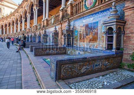 Spain Square. (plaza De Espana), Seville, Andalucia, Spain. Picture Taken 24 March 2020.
