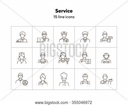 Service Icons. Set Of Line Icons On White Background. Doctor, Driver, Barman. Profession Concept. Ve