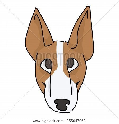 Cute Cartoon Bull Terrier Puppy Face Breed Vector Clipart. Pedigree Kennel Show Dog For Dog Lovers.