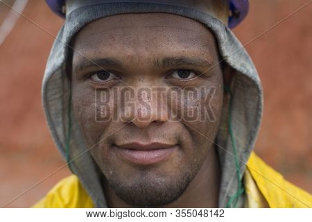 Padre Paraíso, Minas Gerais, Brazil - January 18, 2016: Afro Brazilian Granite Miner At Work