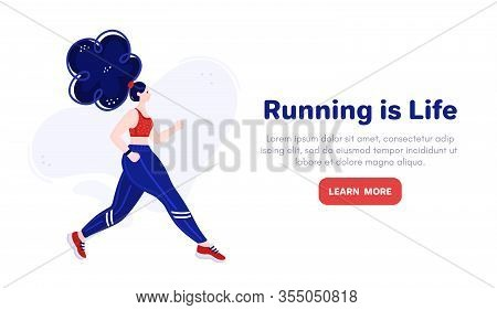 Background With Girl With Blue Hair Runs. Young Runner. Running Woman. Lifestyle. Advertising For Gy