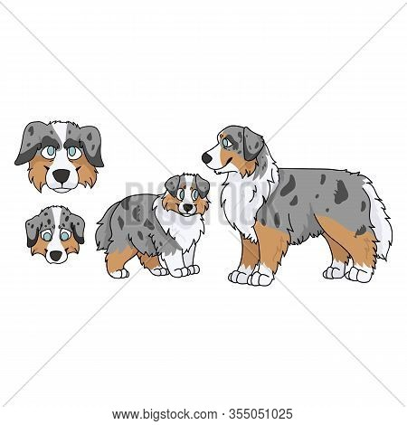 Cute Cartoon Australian Shepherd Dog And Puppy Set Vector Clipart. Pedigree Kennel Doggie Breed For