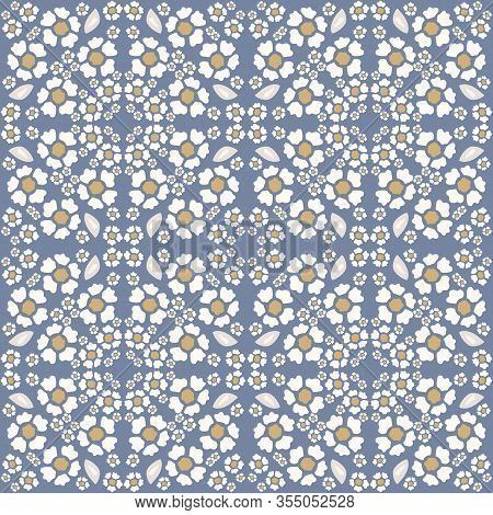French Shabby Chic Azulejos Tile Vector Texture Background. Dainty Daisy Flower On Off White Seamles