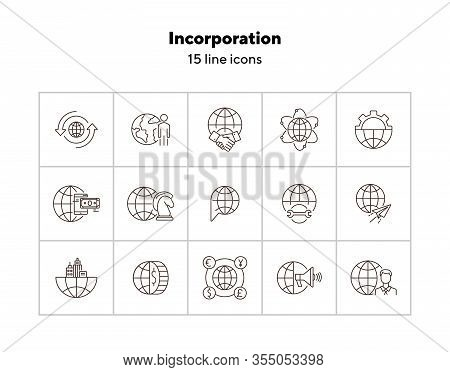 Incorporation Line Icon Set. Currency, Businessman, World, Agreement. Business Concept. Can Be Used