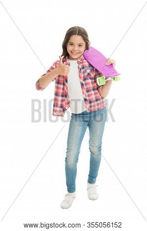 Ideal For Short Distance Ride. Happy Skater Show Thumbs Up Isolated On White. Little Child Hold Penn