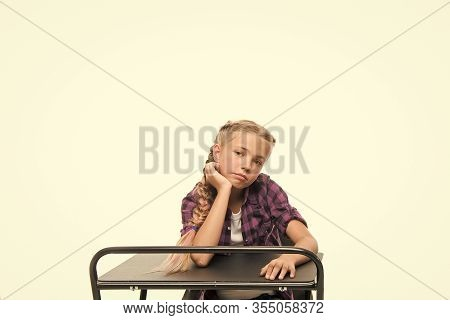 Need Some Rest And Entertainment. Boring Lesson. Girl Bored Pupil Sit At Desk. Issues Of Formal Educ