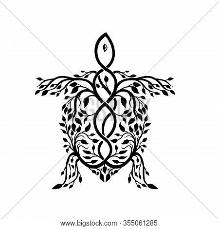 Celtic Knot Stylized  Illustration Of A Sea Turtle Done In Plait Work Or Knotwork Woven Into Unbroke