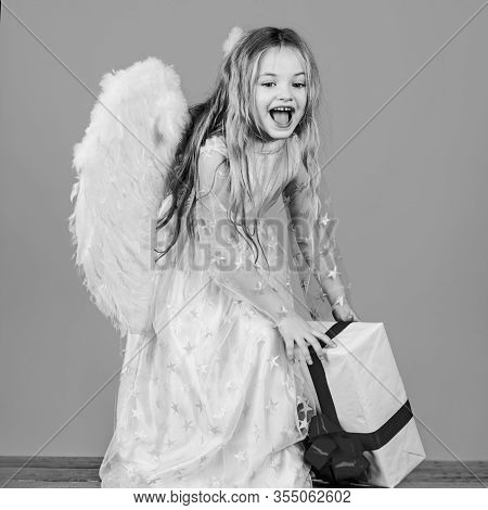Happy Valentines Day. Angel Child From Heaven Gives You Gift. Christmas Cute Little Angel. Beautiful