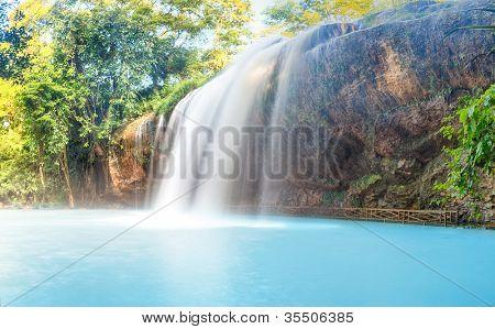 Beautiful Prenn waterfall in Vietnam. Panorama
