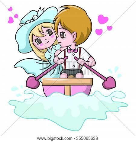 Vector Illustration Of Cute Young Couples Riding In A Boat