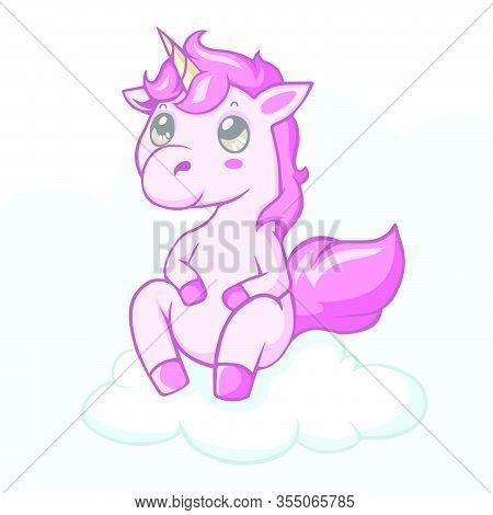 Vector Illustration Of Cute Kawaii Unicorn Pony Cartoon Sitting On Clouds