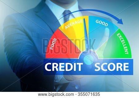 Businessman in credit score concept