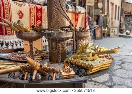 Sarajevo, BiH - August 27, 2019: Souvenirs made from bullets left after the Bosnian war. Souvenir shop in old town of Sarajevo, Bosnia and Herzegovina