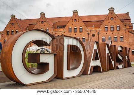 Gdansk, Poland - July 23, 2019: Gdansk sign in Old Town of Gdansk